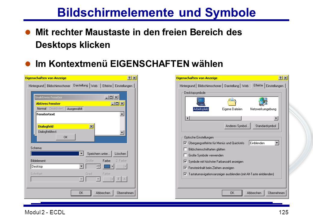 Modul 2 - ECDL125 Bildschirmelemente und Symbole l Mit rechter Maustaste in den freien Bereich des Desktops klicken l Im Kontextmenü EIGENSCHAFTEN wäh