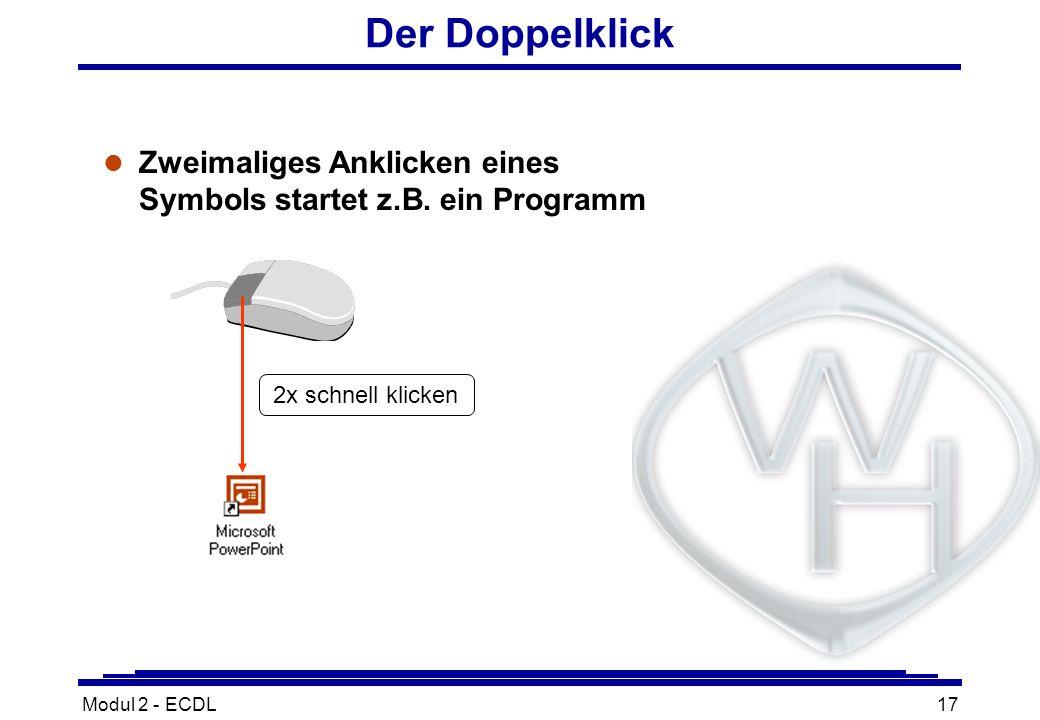 Modul 2 - ECDL17 Der Doppelklick l Zweimaliges Anklicken eines Symbols startet z.B. ein Programm 2x schnell klicken