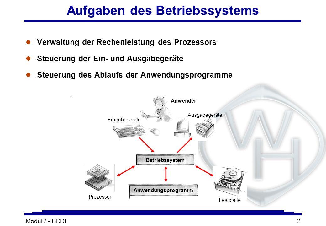 Modul 2 - ECDL2 Aufgaben des Betriebssystems l Verwaltung der Rechenleistung des Prozessors l Steuerung der Ein- und Ausgabegeräte l Steuerung des Abl