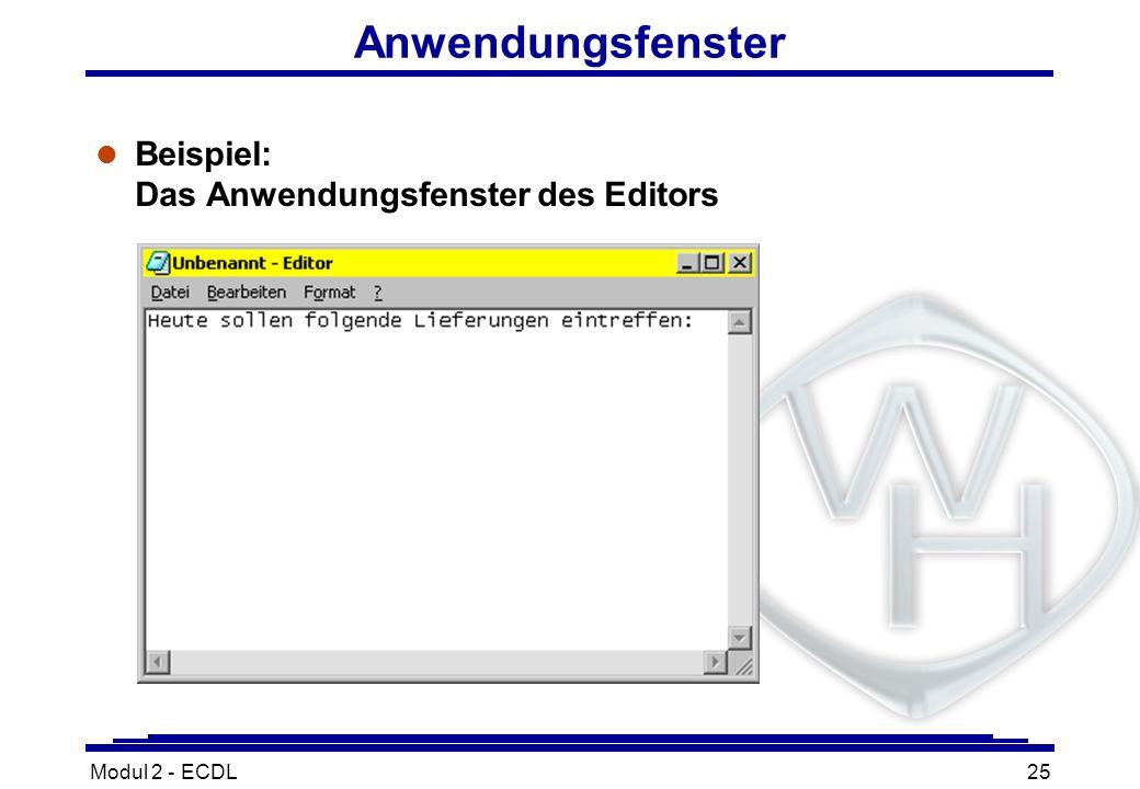 Modul 2 - ECDL25 Anwendungsfenster l Beispiel: Das Anwendungsfenster des Editors