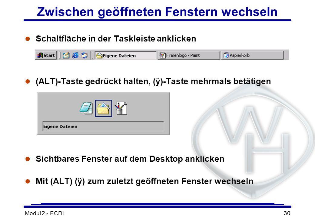 Modul 2 - ECDL30 Zwischen geöffneten Fenstern wechseln l Schaltfläche in der Taskleiste anklicken (ALT)-Taste gedrückt halten, (ÿ)-Taste mehrmals betä