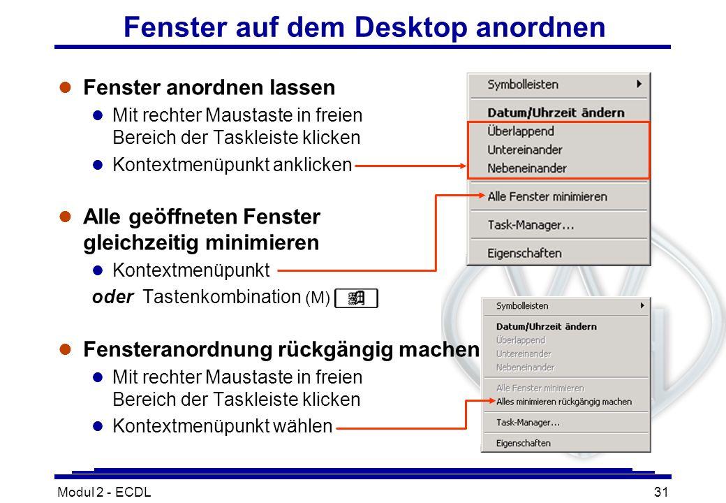 Modul 2 - ECDL31 Fenster auf dem Desktop anordnen l Fenster anordnen lassen l Mit rechter Maustaste in freien Bereich der Taskleiste klicken l Kontext