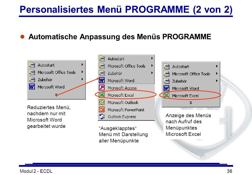 Modul 2 - ECDL36 Personalisiertes Menü PROGRAMME (2 von 2) l Automatische Anpassung des Menüs PROGRAMME Reduziertes Menü, nachdem nur mit Microsoft Wo