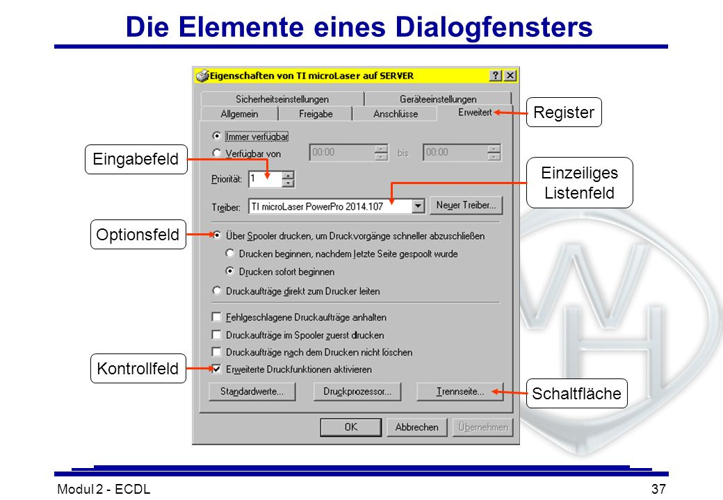 Modul 2 - ECDL37 Die Elemente eines Dialogfensters Eingabefeld Register Schaltfläche Kontrollfeld Optionsfeld Einzeiliges Listenfeld