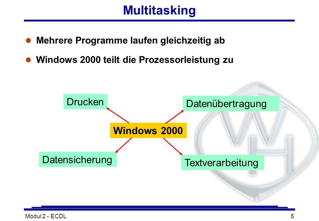 Modul 2 - ECDL5 Multitasking l Mehrere Programme laufen gleichzeitig ab l Windows 2000 teilt die Prozessorleistung zu Windows 2000 Drucken Datensicher