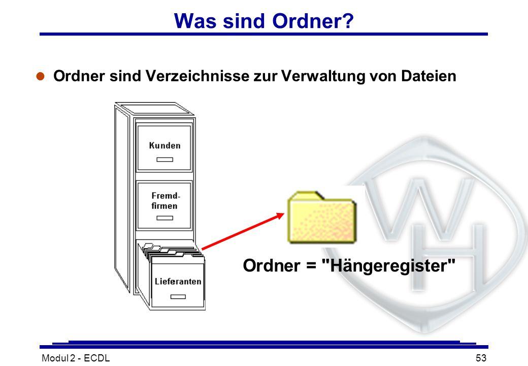 Modul 2 - ECDL53 Was sind Ordner? l Ordner sind Verzeichnisse zur Verwaltung von Dateien Ordner =