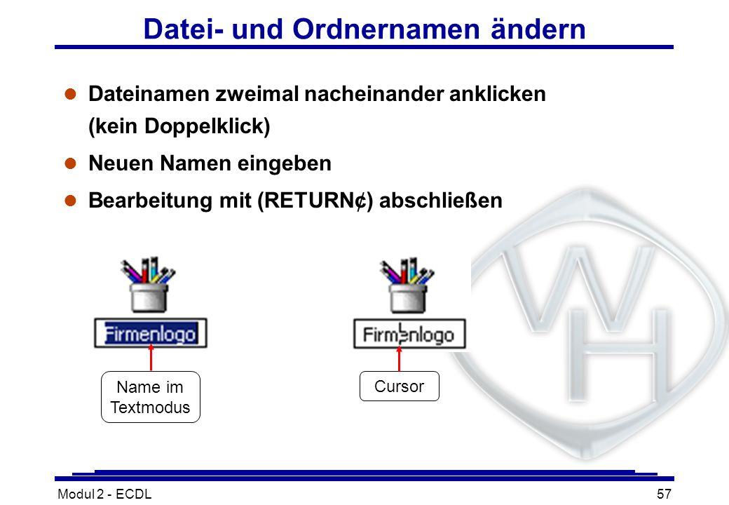 Modul 2 - ECDL57 Datei- und Ordnernamen ändern l Dateinamen zweimal nacheinander anklicken (kein Doppelklick) l Neuen Namen eingeben Bearbeitung mit (