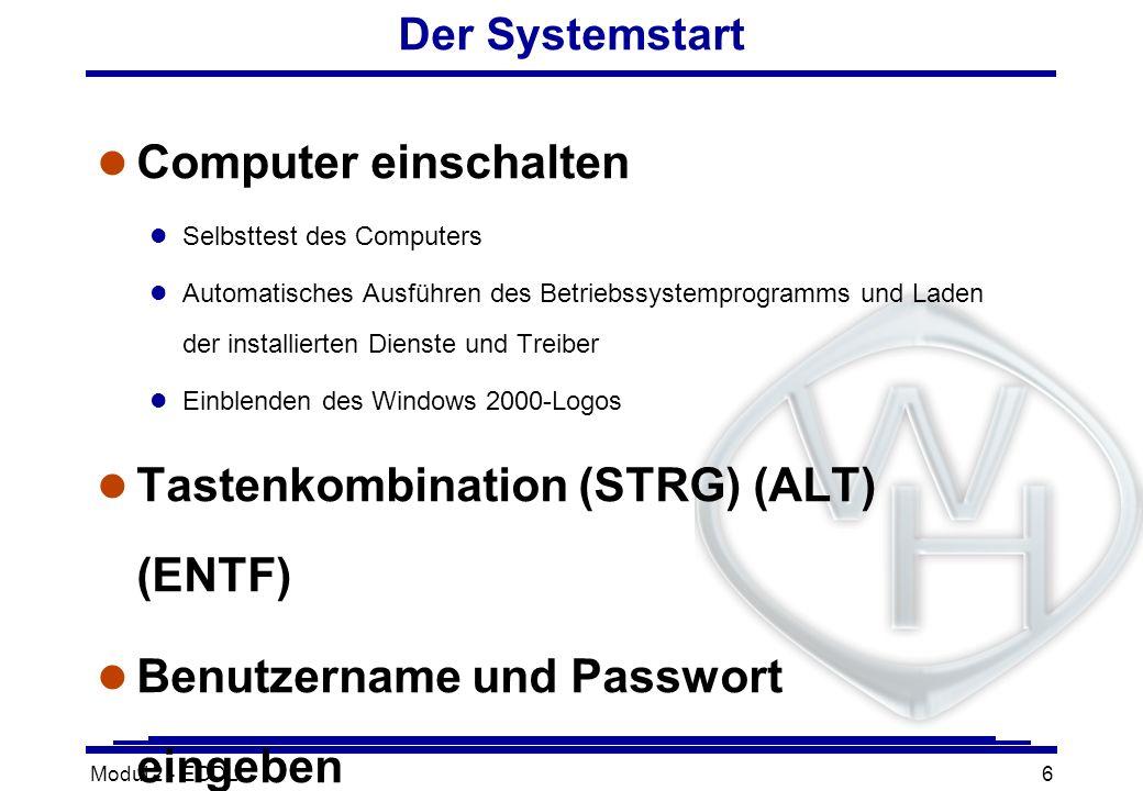 Modul 2 - ECDL6 Der Systemstart l Computer einschalten l Selbsttest des Computers l Automatisches Ausführen des Betriebssystemprogramms und Laden der