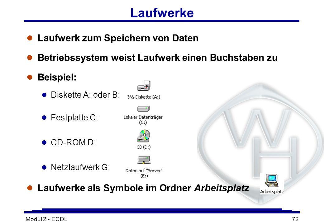 Modul 2 - ECDL72 Laufwerke l Laufwerk zum Speichern von Daten l Betriebssystem weist Laufwerk einen Buchstaben zu l Beispiel: l Diskette A: oder B: l