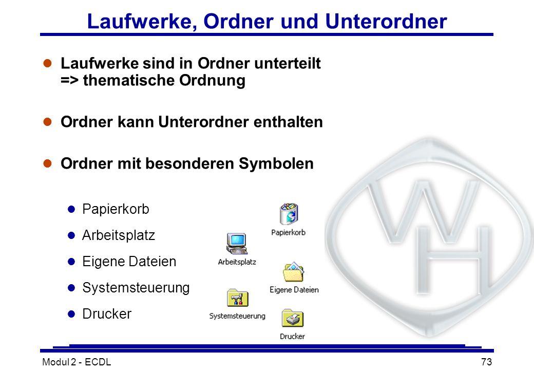 Modul 2 - ECDL73 Laufwerke, Ordner und Unterordner l Laufwerke sind in Ordner unterteilt => thematische Ordnung l Ordner kann Unterordner enthalten l