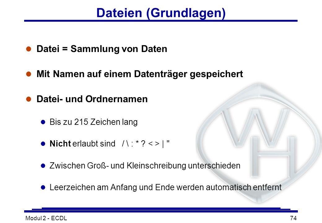 Modul 2 - ECDL74 Dateien (Grundlagen) l Datei = Sammlung von Daten l Mit Namen auf einem Datenträger gespeichert l Datei- und Ordnernamen l Bis zu 215
