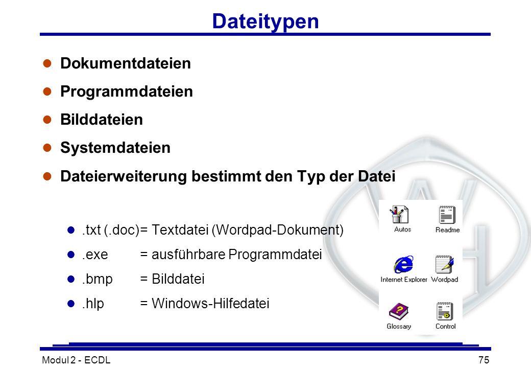 Modul 2 - ECDL75 Dateitypen l Dokumentdateien l Programmdateien l Bilddateien l Systemdateien l Dateierweiterung bestimmt den Typ der Datei l.txt (.do