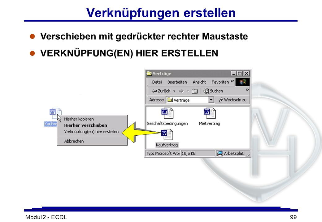 Modul 2 - ECDL99 Verknüpfungen erstellen l Verschieben mit gedrückter rechter Maustaste l VERKNÜPFUNG(EN) HIER ERSTELLEN