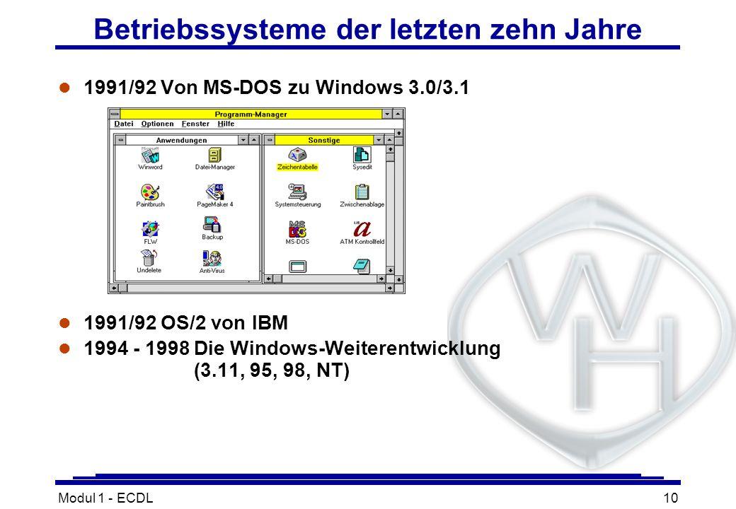 Modul 1 - ECDL10 l 1991/92 Von MS-DOS zu Windows 3.0/3.1 l 1991/92 OS/2 von IBM l 1994 - 1998Die Windows-Weiterentwicklung (3.11, 95, 98, NT) Betriebs