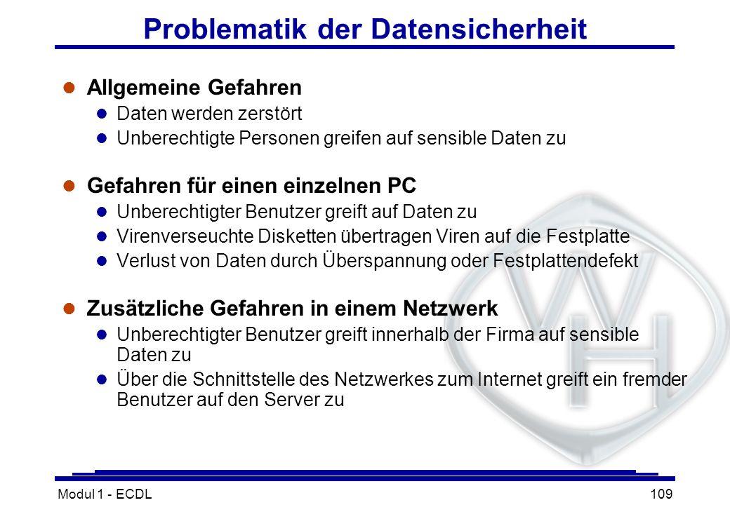 Modul 1 - ECDL109 Problematik der Datensicherheit l Allgemeine Gefahren l Daten werden zerstört l Unberechtigte Personen greifen auf sensible Daten zu