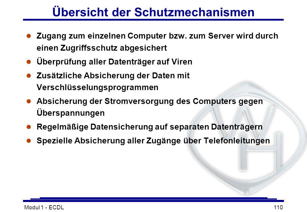Modul 1 - ECDL110 Übersicht der Schutzmechanismen l Zugang zum einzelnen Computer bzw. zum Server wird durch einen Zugriffsschutz abgesichert l Überpr