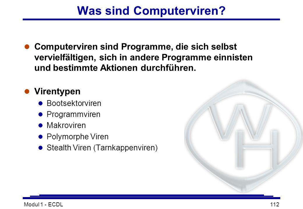 Modul 1 - ECDL112 Was sind Computerviren? l Computerviren sind Programme, die sich selbst vervielfältigen, sich in andere Programme einnisten und best