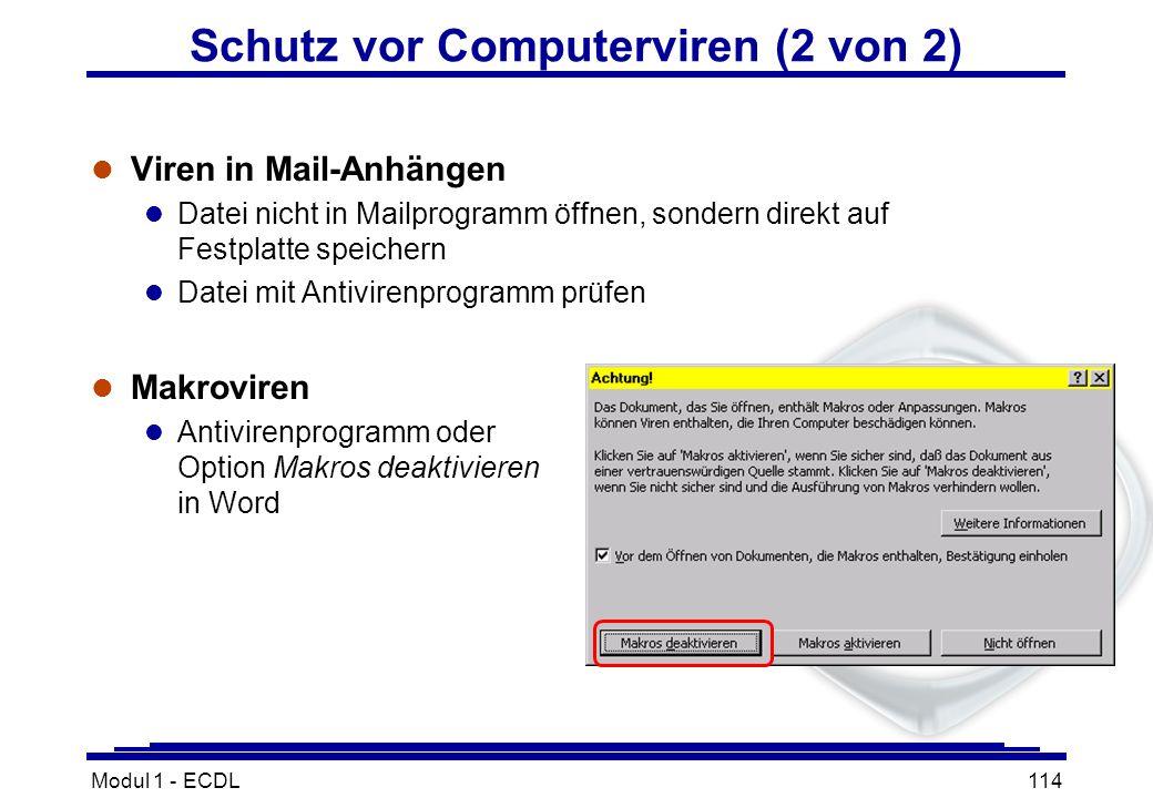 Modul 1 - ECDL114 Schutz vor Computerviren (2 von 2) l Viren in Mail-Anhängen l Datei nicht in Mailprogramm öffnen, sondern direkt auf Festplatte spei