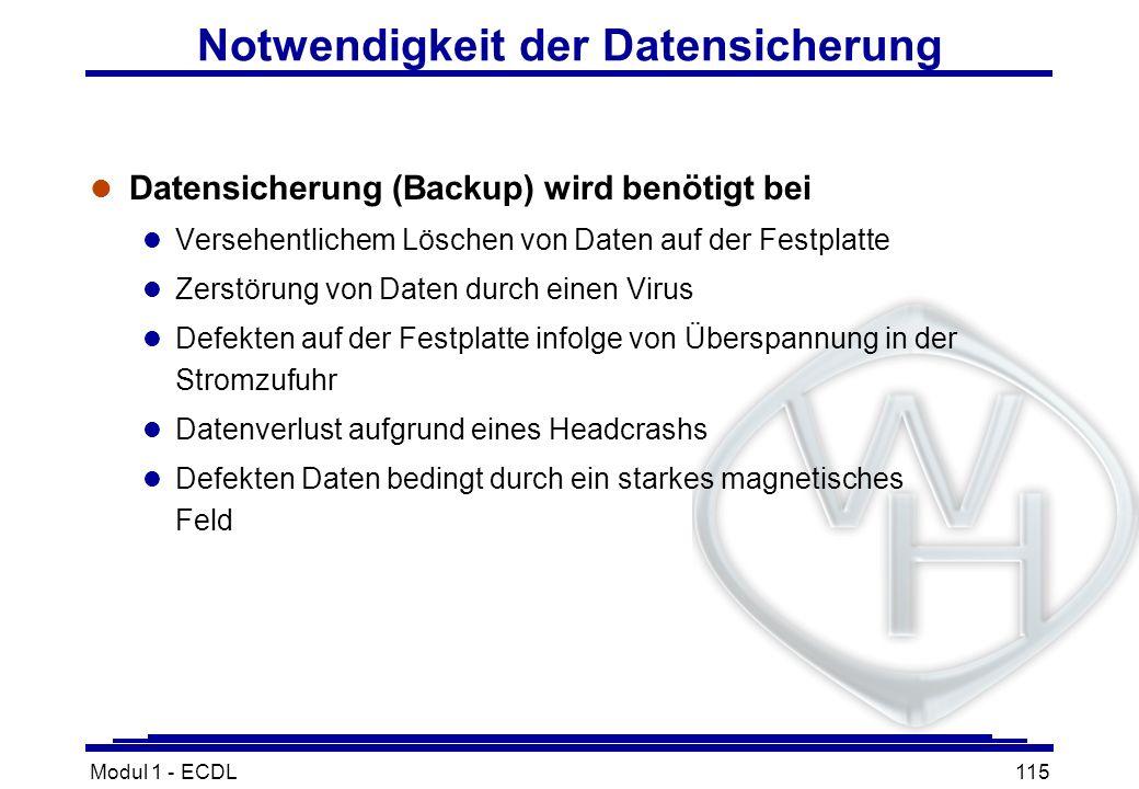 Modul 1 - ECDL115 Notwendigkeit der Datensicherung l Datensicherung (Backup) wird benötigt bei l Versehentlichem Löschen von Daten auf der Festplatte