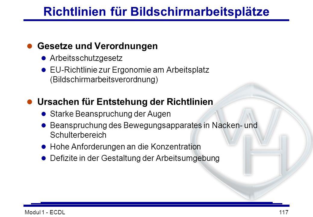 Modul 1 - ECDL117 Richtlinien für Bildschirmarbeitsplätze l Gesetze und Verordnungen l Arbeitsschutzgesetz l EU-Richtlinie zur Ergonomie am Arbeitspla