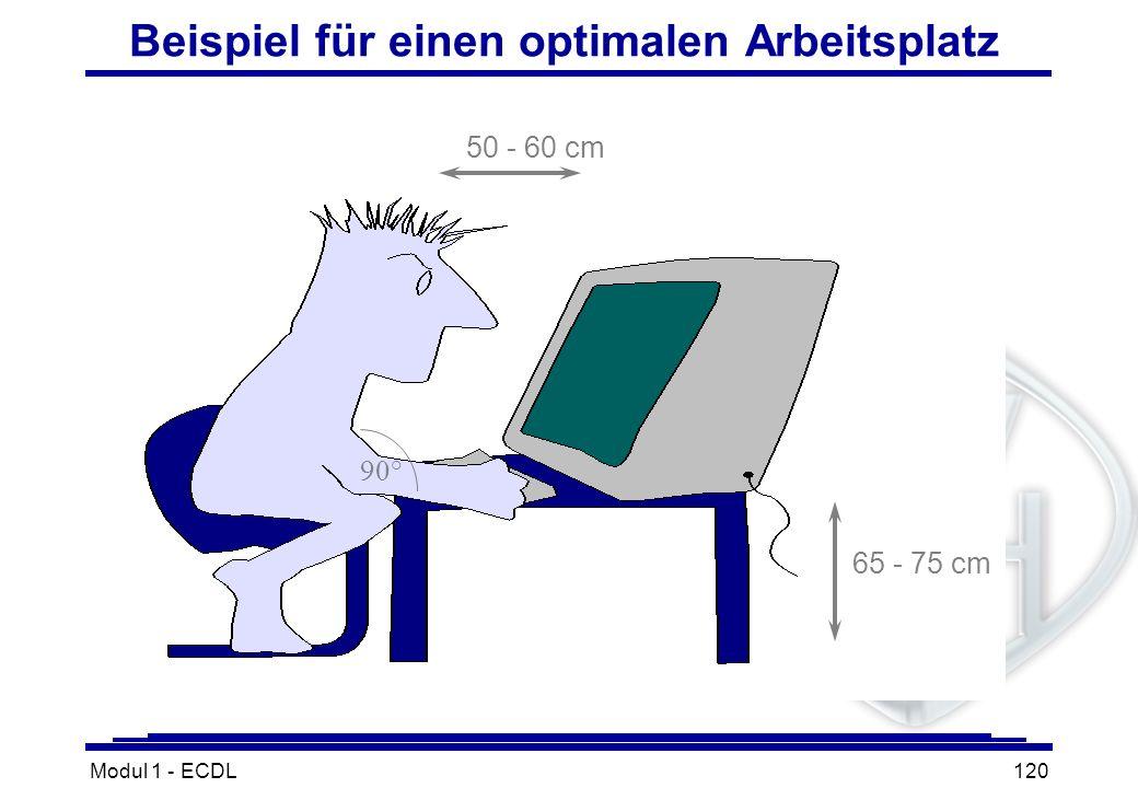 Modul 1 - ECDL120 Beispiel für einen optimalen Arbeitsplatz 50 - 60 cm 65 - 75 cm 90°