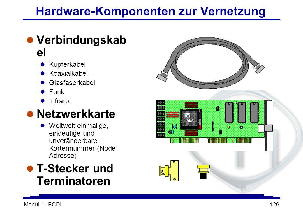 Modul 1 - ECDL126 Hardware-Komponenten zur Vernetzung l Verbindungskab el l Kupferkabel l Koaxialkabel l Glasfaserkabel l Funk l Infrarot l Netzwerkka