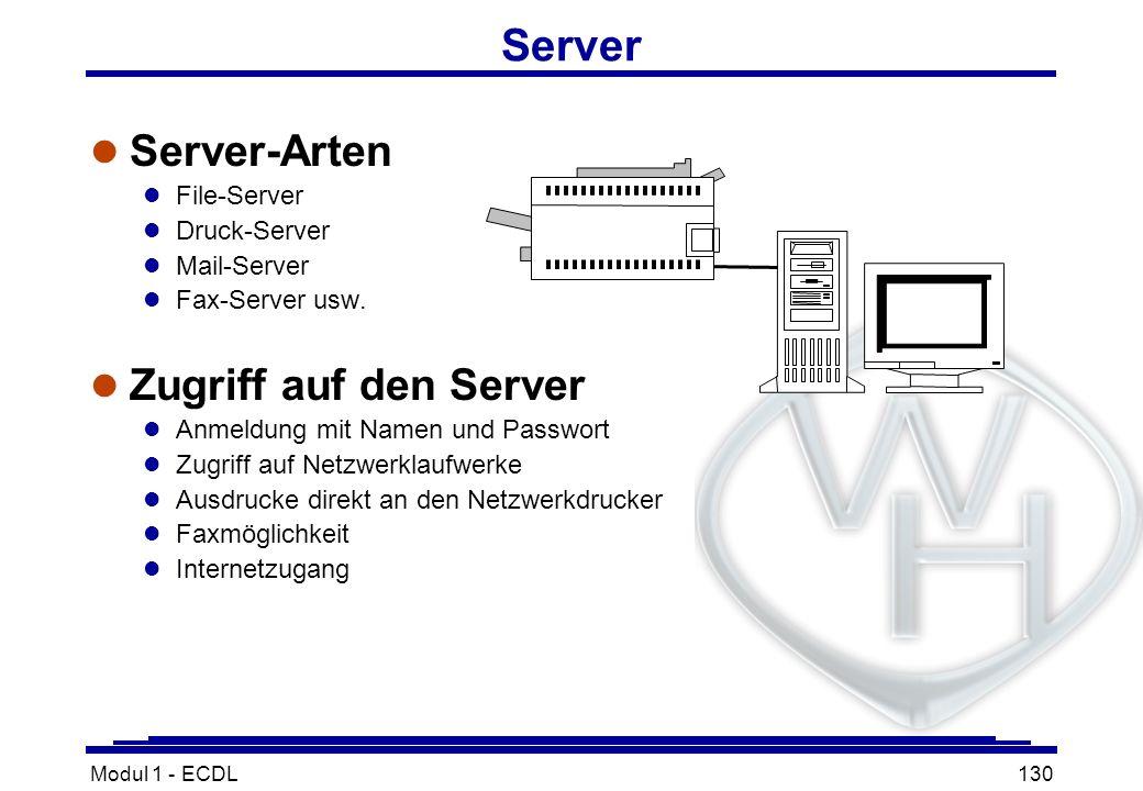 Modul 1 - ECDL130 Server l Server-Arten l File-Server l Druck-Server l Mail-Server l Fax-Server usw. l Zugriff auf den Server l Anmeldung mit Namen un