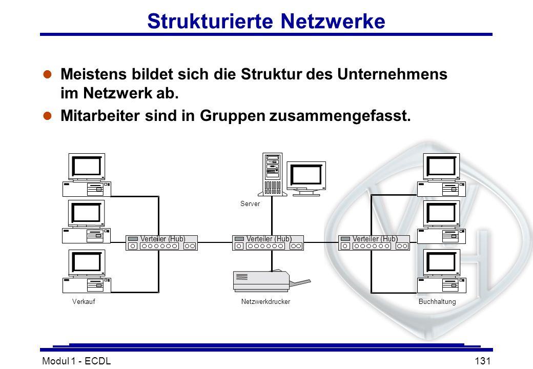 Modul 1 - ECDL131 Strukturierte Netzwerke l Meistens bildet sich die Struktur des Unternehmens im Netzwerk ab. l Mitarbeiter sind in Gruppen zusammeng