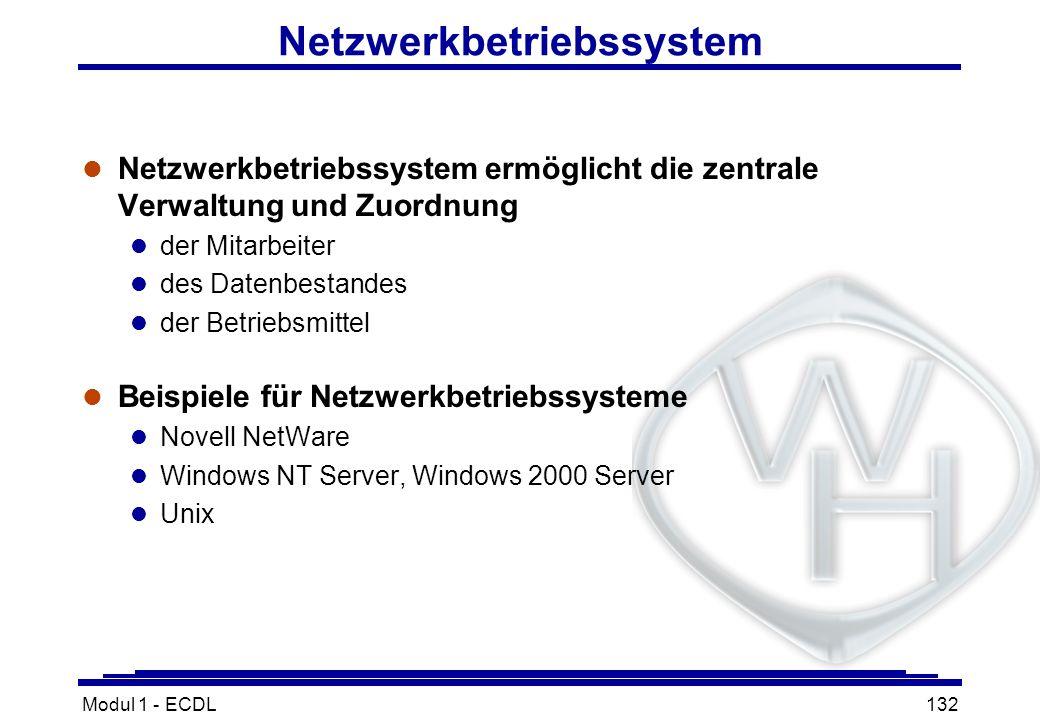 Modul 1 - ECDL132 Netzwerkbetriebssystem l Netzwerkbetriebssystem ermöglicht die zentrale Verwaltung und Zuordnung l der Mitarbeiter l des Datenbestan