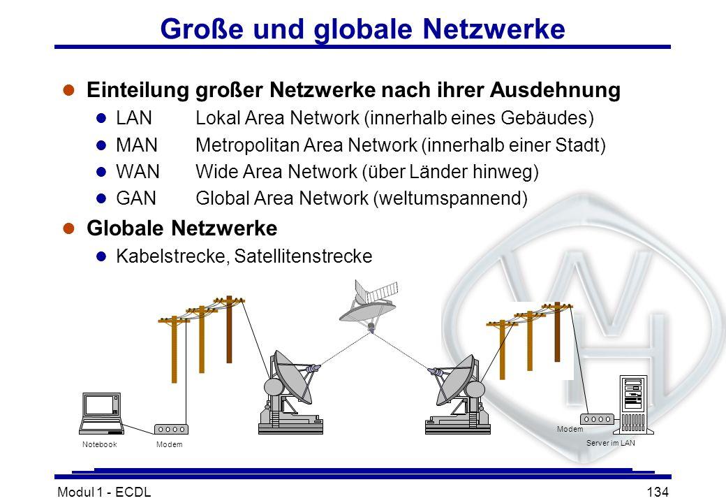 Modul 1 - ECDL134 Große und globale Netzwerke l Einteilung großer Netzwerke nach ihrer Ausdehnung l LANLokal Area Network (innerhalb eines Gebäudes) l