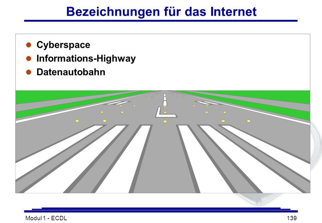 Modul 1 - ECDL139 l Cyberspace l Informations-Highway l Datenautobahn Bezeichnungen für das Internet