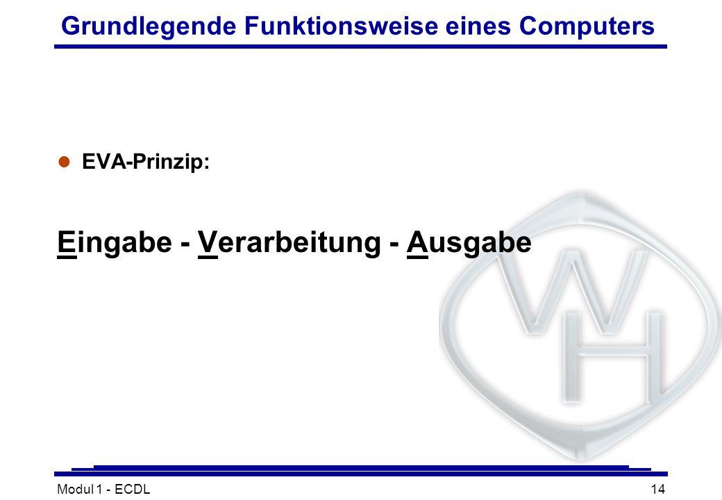 Modul 1 - ECDL14 Grundlegende Funktionsweise eines Computers l EVA-Prinzip: Eingabe - Verarbeitung - Ausgabe