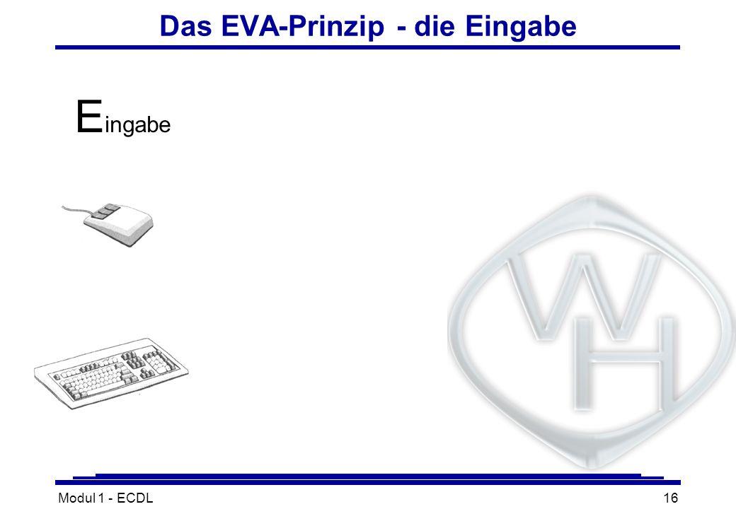 Modul 1 - ECDL16 Das EVA-Prinzip - die Eingabe E ingabe