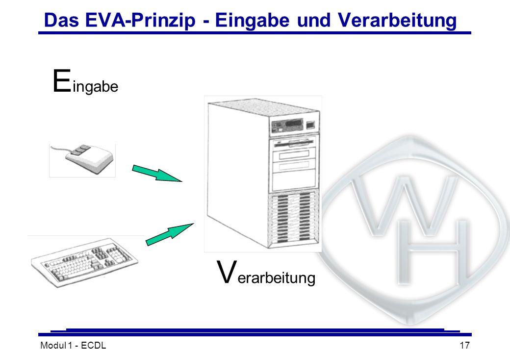 Modul 1 - ECDL17 Das EVA-Prinzip - Eingabe und Verarbeitung V erarbeitung E ingabe