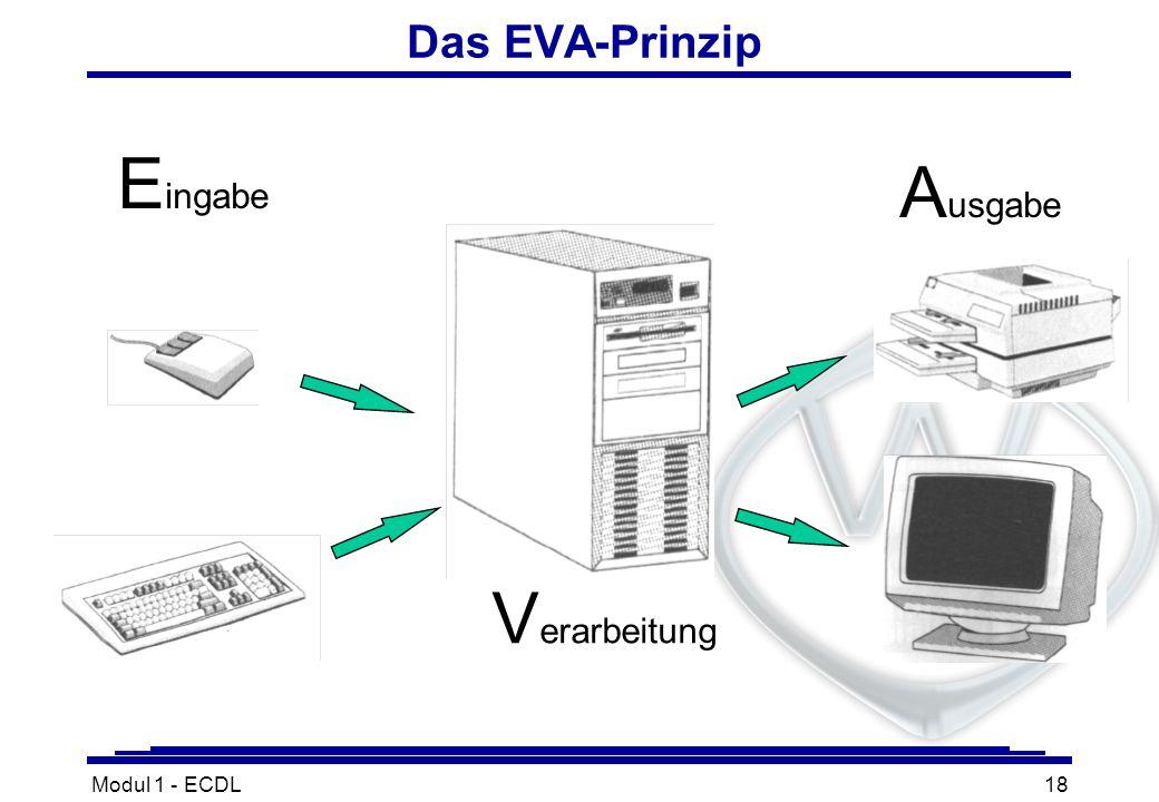 Modul 1 - ECDL18 Das EVA-Prinzip V erarbeitung A usgabe E ingabe
