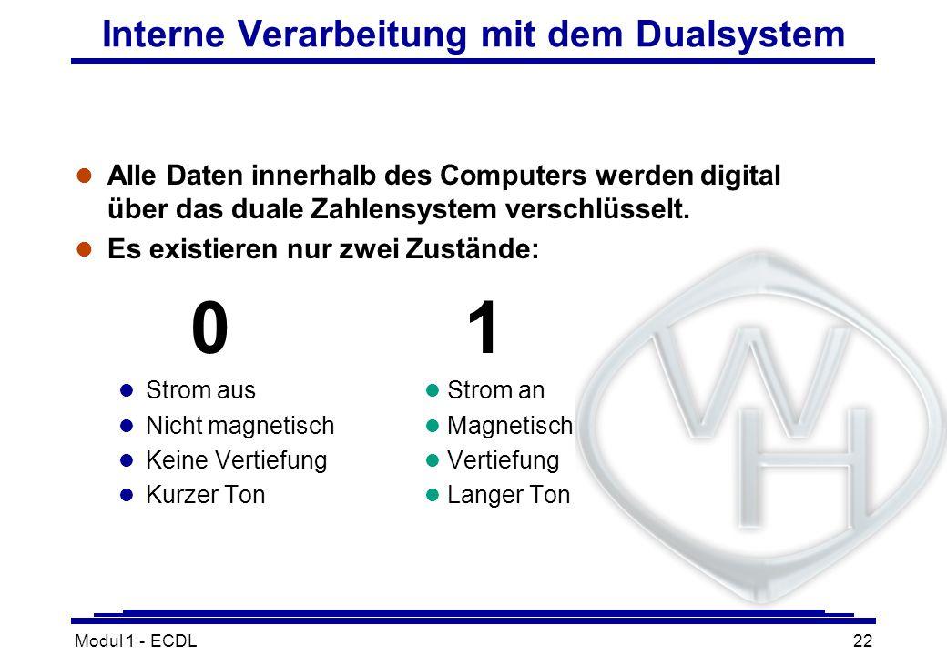 Modul 1 - ECDL22 Interne Verarbeitung mit dem Dualsystem l Alle Daten innerhalb des Computers werden digital über das duale Zahlensystem verschlüsselt