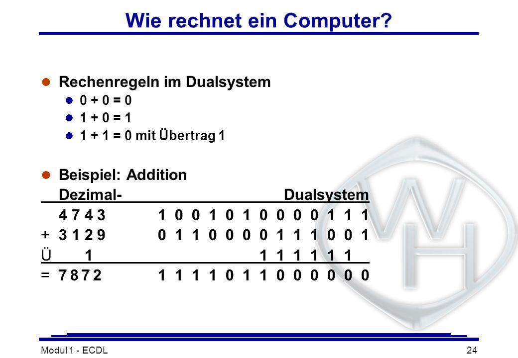 Modul 1 - ECDL24 Wie rechnet ein Computer? l Rechenregeln im Dualsystem l 0 + 0 = 0 l 1 + 0 = 1 l 1 + 1 = 0 mit Übertrag 1 l Beispiel: Addition Dezima
