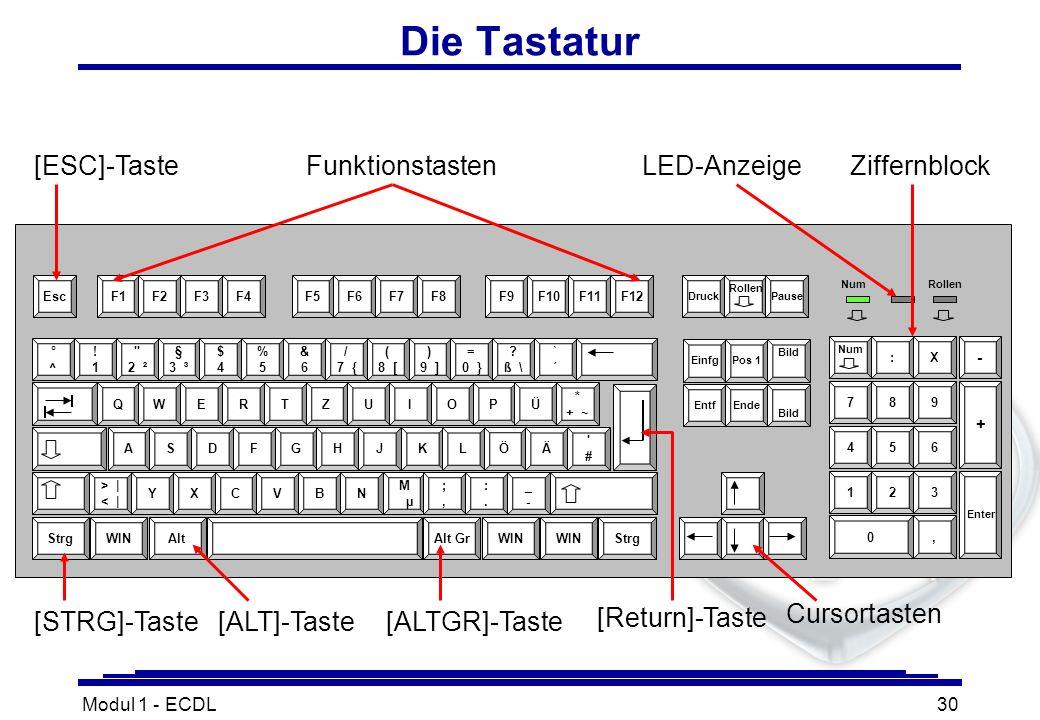 Modul 1 - ECDL30 Die Tastatur [STRG]-Taste[ALTGR]-Taste Cursortasten ZiffernblockFunktionstasten [ALT]-Taste [Return]-Taste LED-Anzeige [ESC]-Taste
