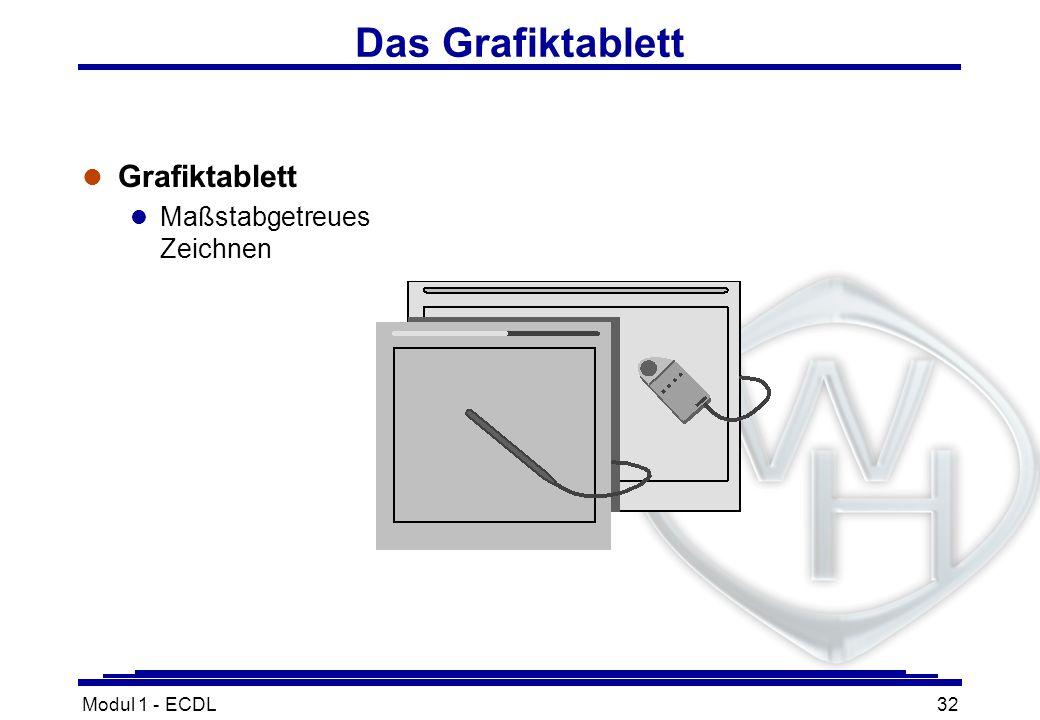 Modul 1 - ECDL32 Das Grafiktablett l Grafiktablett l Maßstabgetreues Zeichnen
