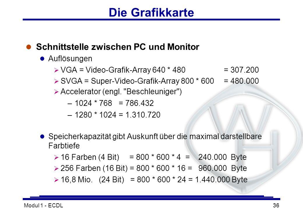 Modul 1 - ECDL36 Die Grafikkarte l Schnittstelle zwischen PC und Monitor l Auflösungen VGA = Video-Grafik-Array 640 * 480= 307.200 SVGA = Super-Video-