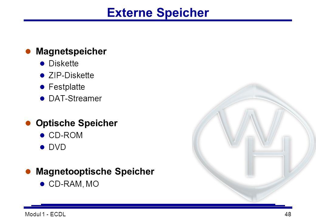 Modul 1 - ECDL48 Externe Speicher l Magnetspeicher l Diskette l ZIP-Diskette l Festplatte l DAT-Streamer l Optische Speicher l CD-ROM l DVD l Magnetoo
