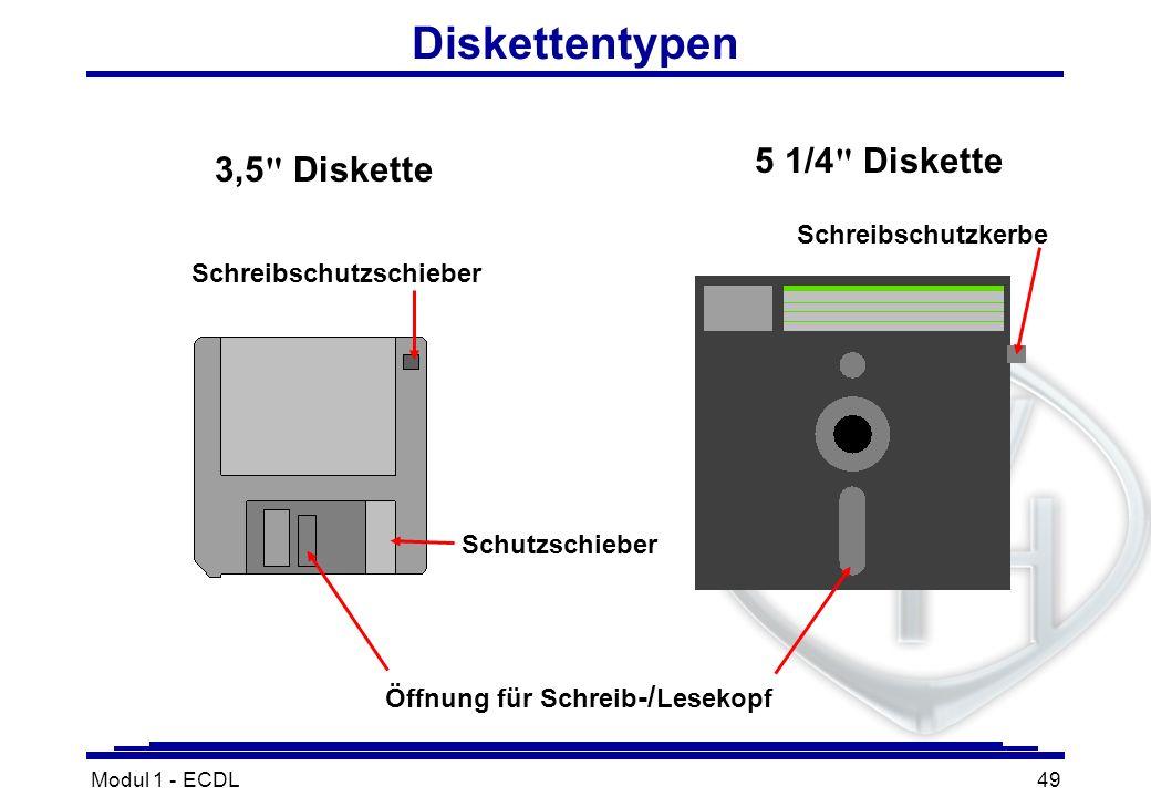 Modul 1 - ECDL49 Diskettentypen Öffnung für Schreib -/ Lesekopf Schreibschutzschieber Schreibschutzkerbe Schutzschieber 3,5