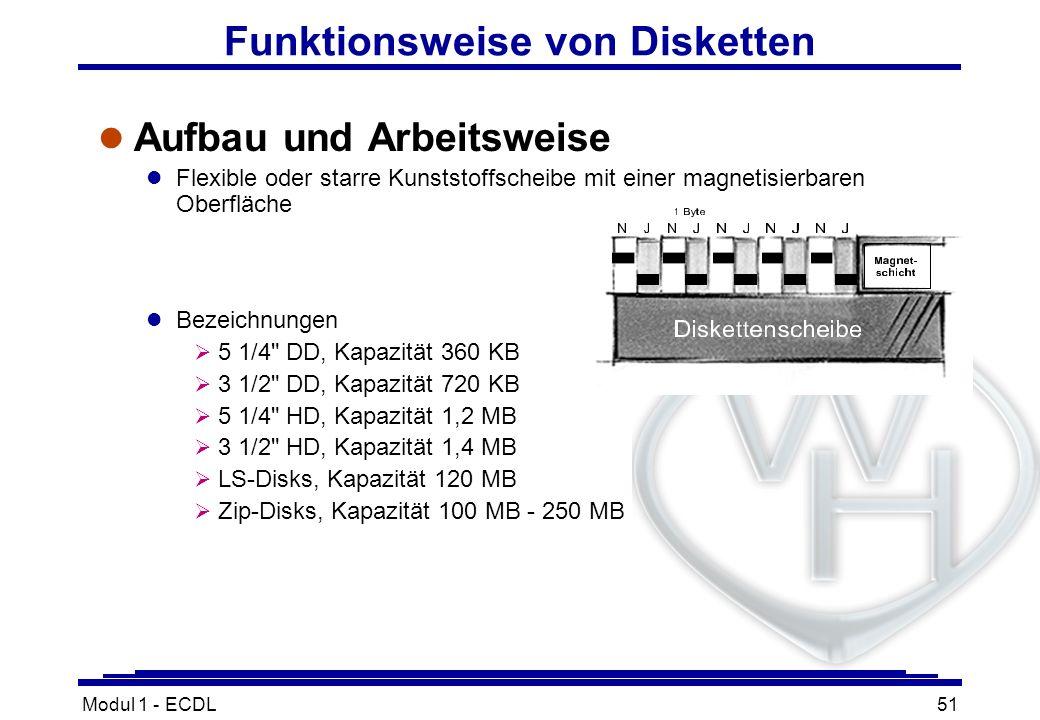 Modul 1 - ECDL51 Funktionsweise von Disketten l Aufbau und Arbeitsweise l Flexible oder starre Kunststoffscheibe mit einer magnetisierbaren Oberfläche