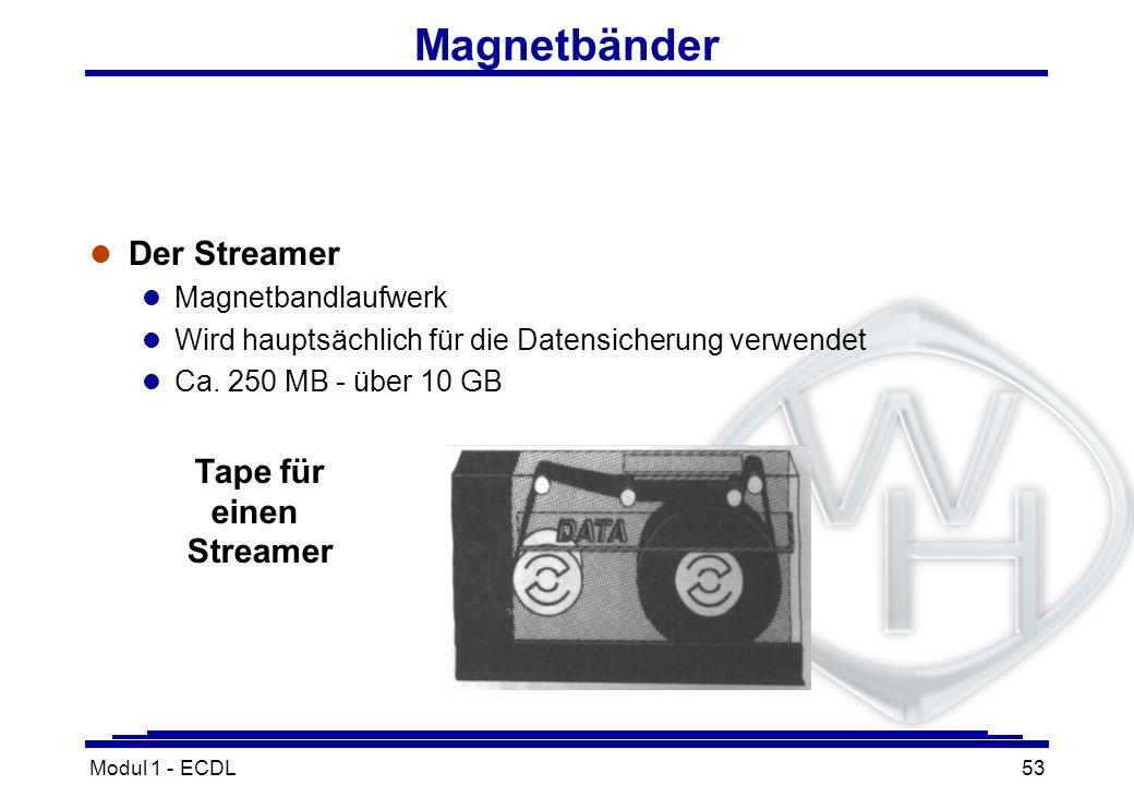 Modul 1 - ECDL53 Tape für einen Streamer Magnetbänder l Der Streamer l Magnetbandlaufwerk l Wird hauptsächlich für die Datensicherung verwendet l Ca.