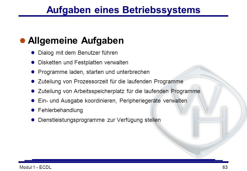 Modul 1 - ECDL63 Aufgaben eines Betriebssystems l Allgemeine Aufgaben l Dialog mit dem Benutzer führen l Disketten und Festplatten verwalten l Program