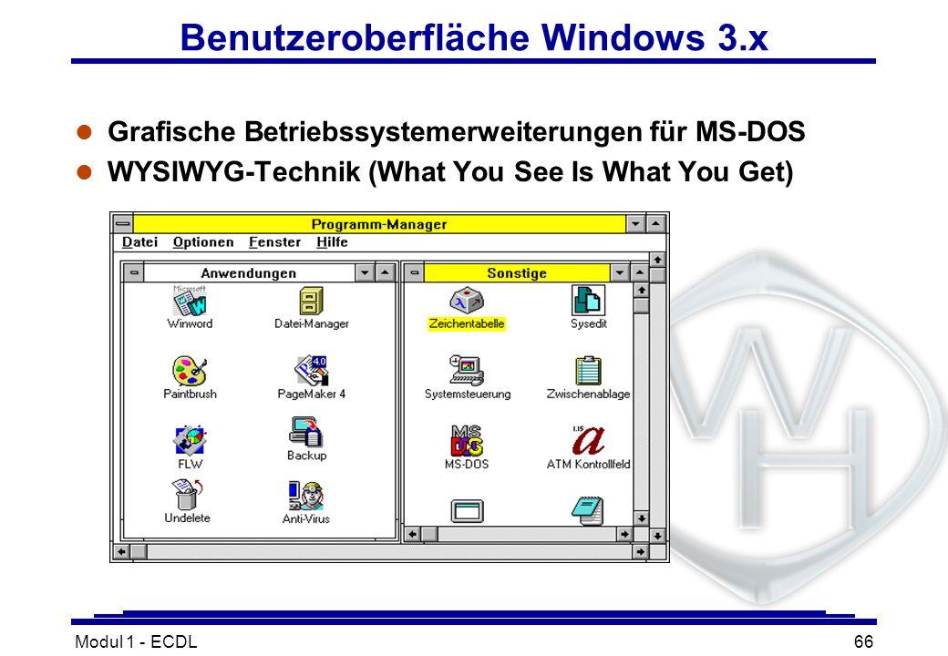 Modul 1 - ECDL66 Benutzeroberfläche Windows 3.x l Grafische Betriebssystemerweiterungen für MS-DOS l WYSIWYG-Technik (What You See Is What You Get)
