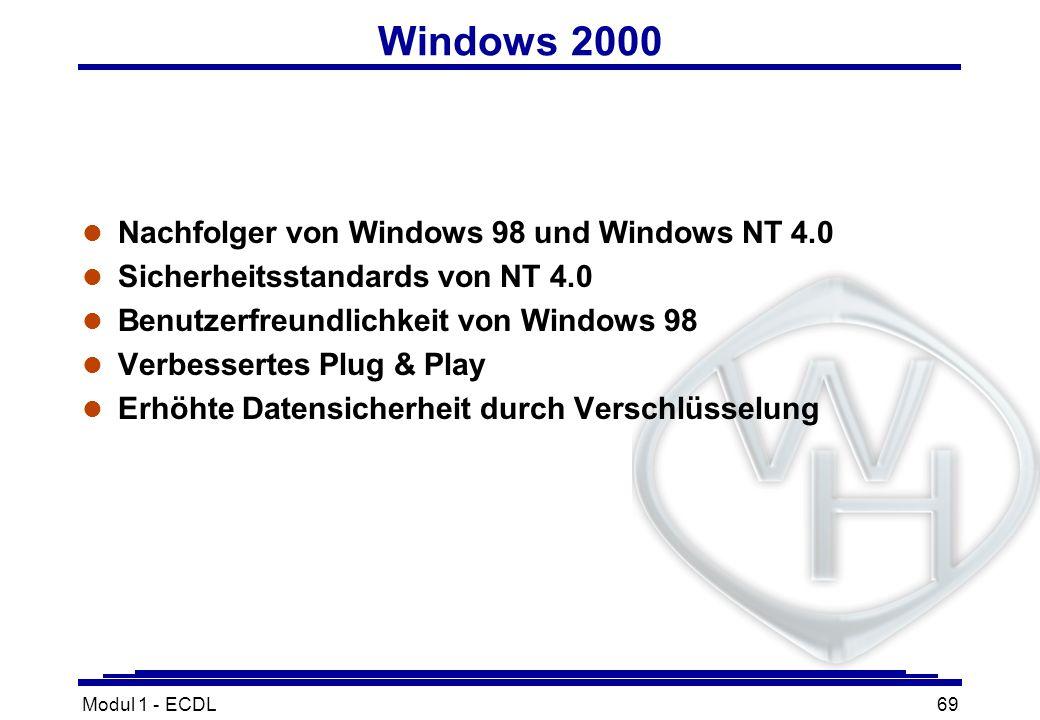 Modul 1 - ECDL69 Windows 2000 l Nachfolger von Windows 98 und Windows NT 4.0 l Sicherheitsstandards von NT 4.0 l Benutzerfreundlichkeit von Windows 98