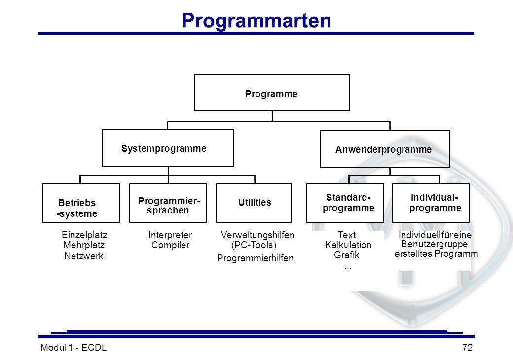Modul 1 - ECDL72 Programmarten Programme Systemprogramme Anwenderprogramme Betriebs -systeme Programmier- sprachen Utilities Einzelplatz Mehrplatz Int