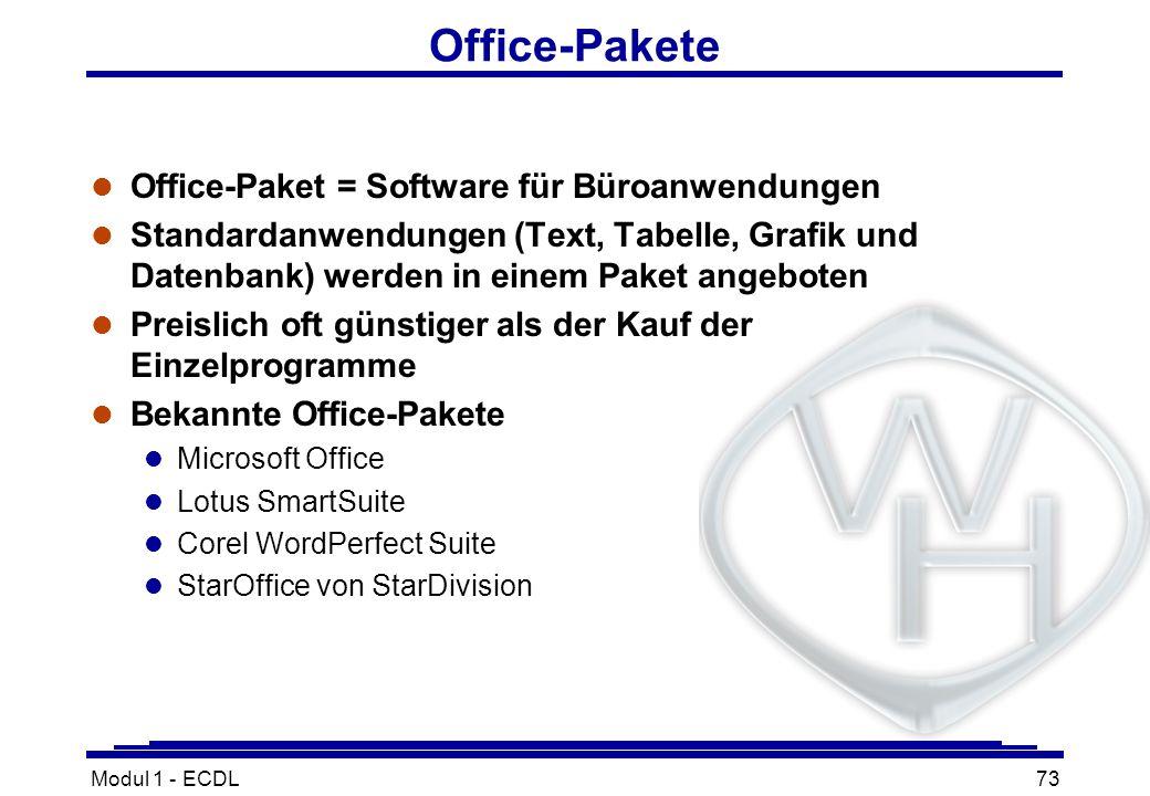 Modul 1 - ECDL73 Office-Pakete l Office-Paket = Software für Büroanwendungen l Standardanwendungen (Text, Tabelle, Grafik und Datenbank) werden in ein