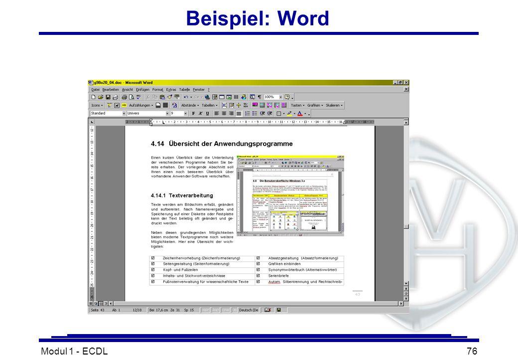 Modul 1 - ECDL76 Beispiel: Word